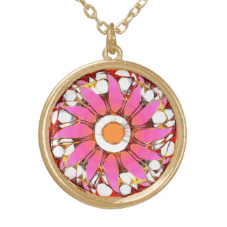 Mod Power Flower Round Pendant Necklace