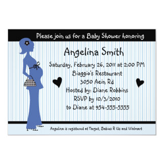 Mod Pregnant Lady Blue Baby Shower Invitation