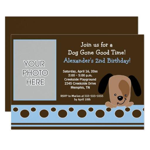 Mod Puppy Blue and Brown Birthday Invitation