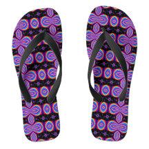 Mod Purple Black Pattern Bold Flip Flops