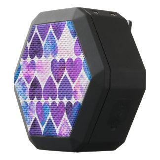 Mod Purple & Blue Grungy Hearts Design Black Bluetooth Speaker