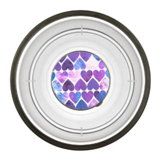 Mod Purple & Blue Grungy Hearts Design Bowl