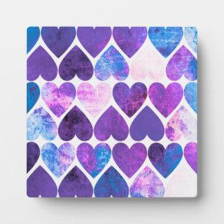 Mod Purple & Blue Grungy Hearts Design Plaque