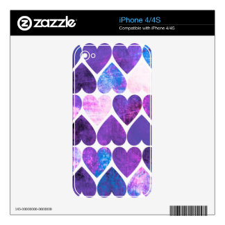 Mod Purple & Blue Grungy Hearts Design iPhone 4S Decals