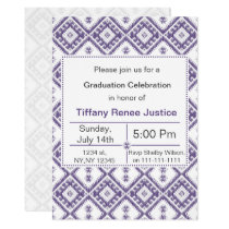 mod purple Ikat Graduation party Invitation