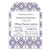 mod purple Ikat Graduation party Invitation