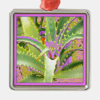 Mod Purple-Pink-Green Agave Gifts Metal Ornament