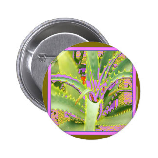 Mod Purple-Pink-Green Agave Gifts Pinback Button