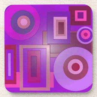 mod purple shapes anstract drink coaster