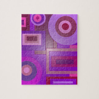 mod purple shapes anstract jigsaw puzzle