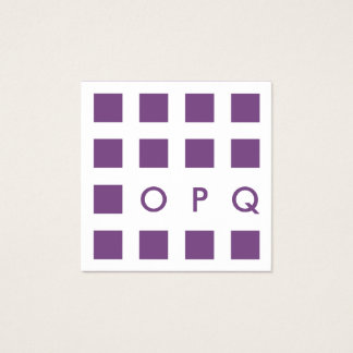 mod purple squares square business card