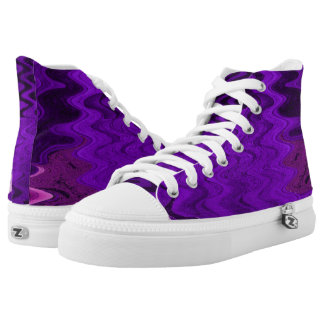 Mod Purple Squiggles pattern design High-Top Sneakers