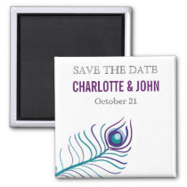 Mod purple, teal blue peacock save the Date Magnet
