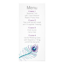 Mod purple, teal blue peacock Wedding menu