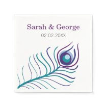 Mod purple, teal blue peacock wedding napkin