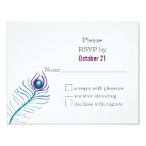 Mod purple, teal blue peacock wedding RSVP cards