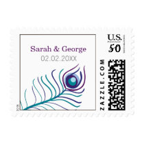 Mod purple, teal blue peacock wedding stamps