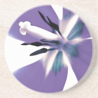 Mod Purple Tulip Floral Round Decorative Coaster Beverage Coaster