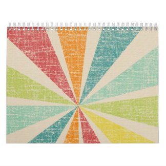 Mod Rainbow Sun Burst Grunge Rustic Colorful Calendar