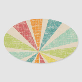 Mod Rainbow Sun Burst Grunge Rustic Colorful Oval Sticker