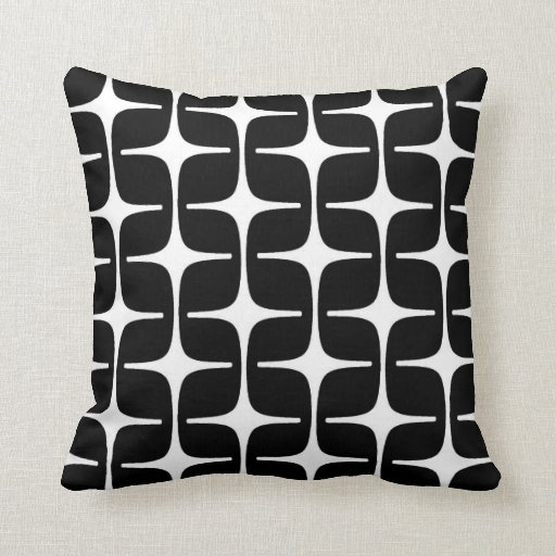 Mod Rectangles Pattern in Black and White Pillow