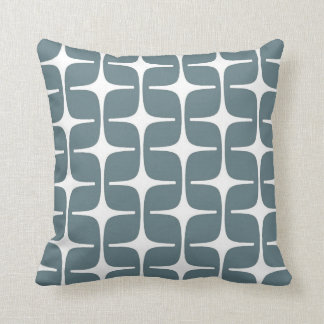 Mod Rectangles Pattern in Blue Grey and White Throw Pillow