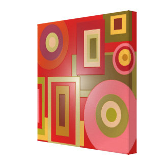 Mod red circles square canvas print