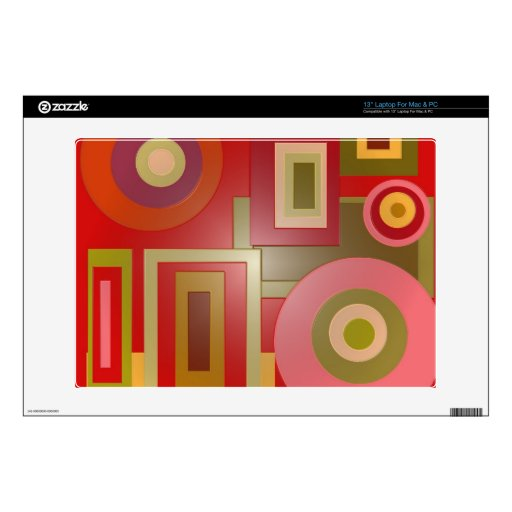Mod red circles squares abstract laptop skins