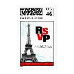 Mod Red Eiffel Tower Parisian RSVP Postage