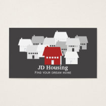 Mod Red Gray Classy Real estate  businesscards Business Card
