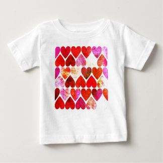 Mod Red Grungy Hearts Design Baby T-Shirt
