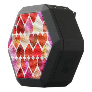 Mod Red Grungy Hearts Design Black Bluetooth Speaker