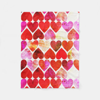 Mod Red Grungy Hearts Design Fleece Blanket