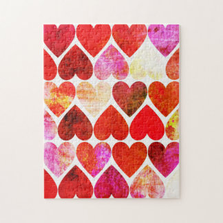 Mod Red Grungy Hearts Design Jigsaw Puzzle