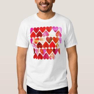 Mod Red Grungy Hearts Design T-Shirt