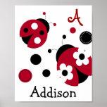 Mod Red Ladybug Nursery Wall Art Name Print