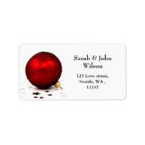 mod red ornament , return address label