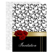 mod red roses damask wedding invitation