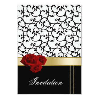 mod red roses damask wedding invitation