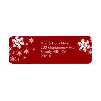 Mod Red Snowflakes Return Address Label