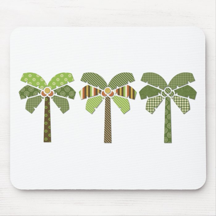 Mod Retro Abstract Patchwork Palm Trees Mouse Pad