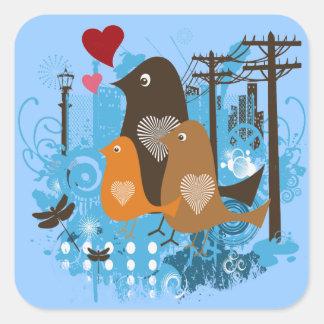 Mod Retro Birds Square Sticker
