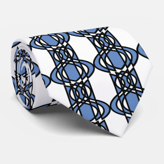 Mod Retro Blue Abstract Scarab Pattern Neck Tie