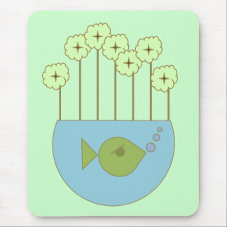 Mod Retro Flower/Fishbowl Mouse Pad
