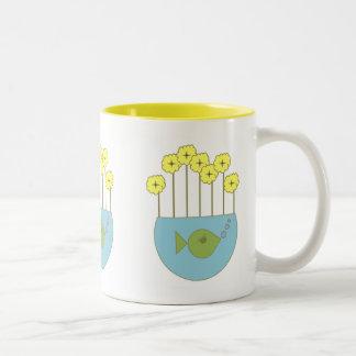 Mod Retro Flower Fishbowl Two-Tone Coffee Mug