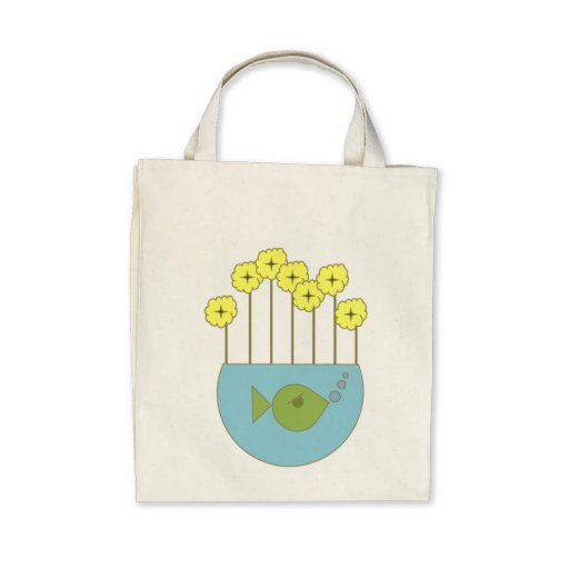 Mod Retro Flowers.Fishbowl Canvas Bags