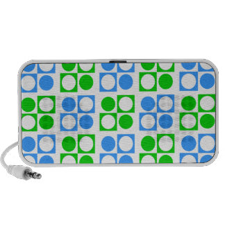 Mod Retro Green Blue Circles Squares Pattern Mp3 Speaker