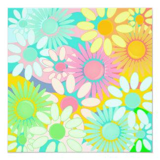 Mod Retro Hip Square Floral Party linvitations Card