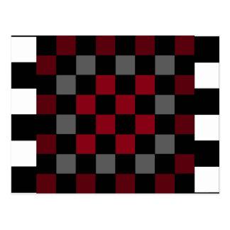Mod Retro Hipster Checkerboard Postcard
