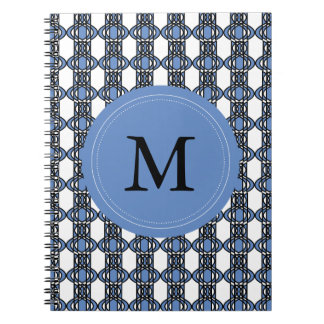 Mod Retro Monogram Blue Abstract Scarab Pattern Notebook
